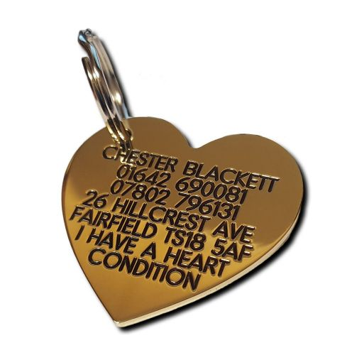 Heart Engraved Brass ID tag -  41mm x 38mm